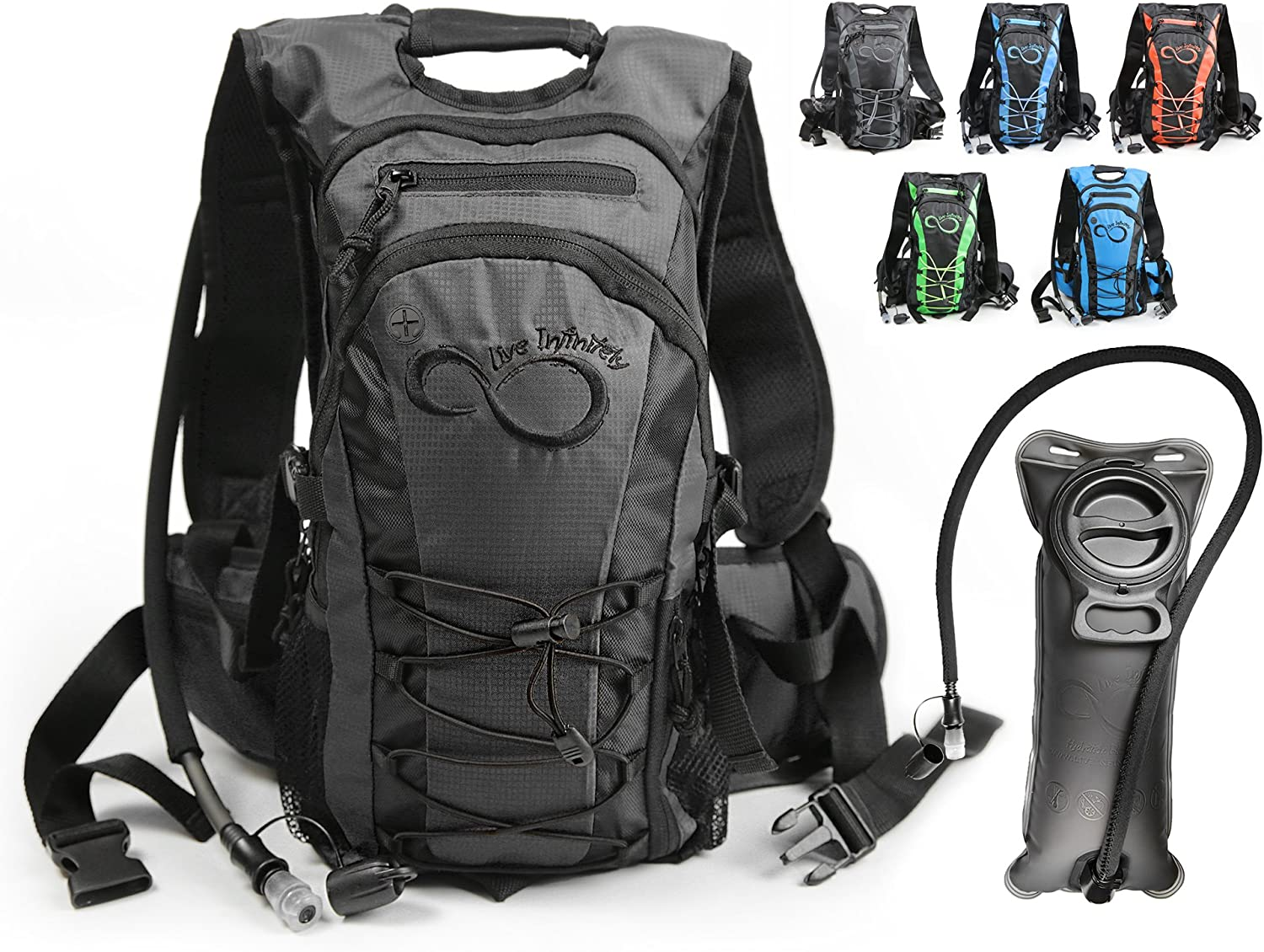 Live Infinitely Hydration Backpack 2L 3L TPU Leak Proof Water Bladder- 600D Polyester -Adjustable Padded Shoulder, Chest Waist Straps- Silicon Bite Tip Shut Off Valve- Daypack Cycling Hiking