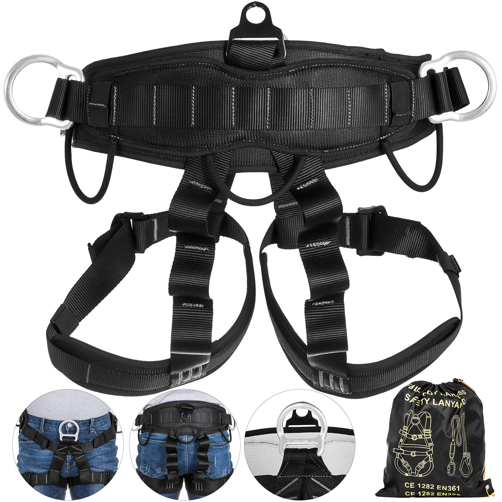 Happybuy Climbing Harness Fall Protection Rock Climbing Equip Gear Rappelling Harness with 3 D-Rings for Rock Climbing Rappelling Downhill Skiing by Happybuy