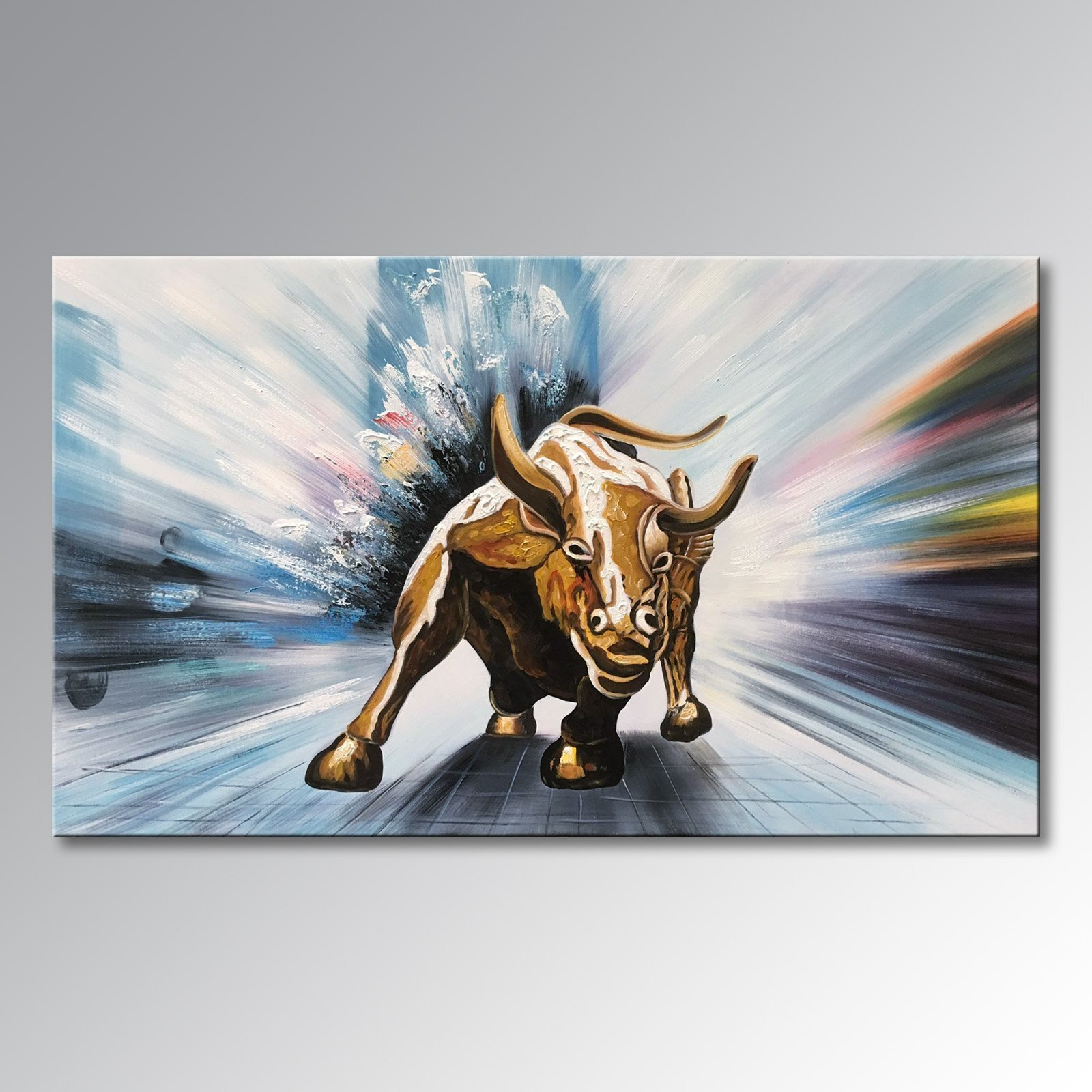 Winpeak Art Handmade Canvas Wall Art Modern Contemporary Oil painting Wll Street Bull Abstract Artwork Decor Hanging Framed Ready to Hang (40'' x 30'') by Winpeak Art