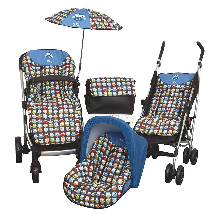 Babyline Estampado B/úhos color azul Colchoneta ligera para silla de paseo