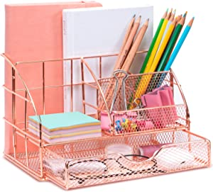 ARCOBIS Rose Gold Desk Organizer with Drawer, Office Desktop Pen Holder with 5 Compartments + 1 Large Drawer | The Mesh Collection