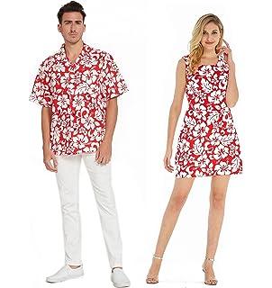 168a9909 Couple Matching Hawaiian Luau Cruise Christmas Outfit Shirt Dress Flamingo  in Love