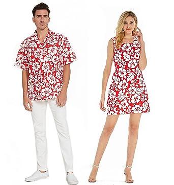 d142b945 Couple Matching Hawaiian Luau Cruise Outfit Shirt Tank Dress Classic Vintage  Hibiscus Red Men 2XL Women