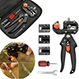 Migiwata Garden Fruit Tree Plant Professional Pruning Shears Grafting and Cutting 2 in 1 Hand-pruner Tool and Accessories Kit with 3 Double-edged Replaceable Blades in a Handy Pouch