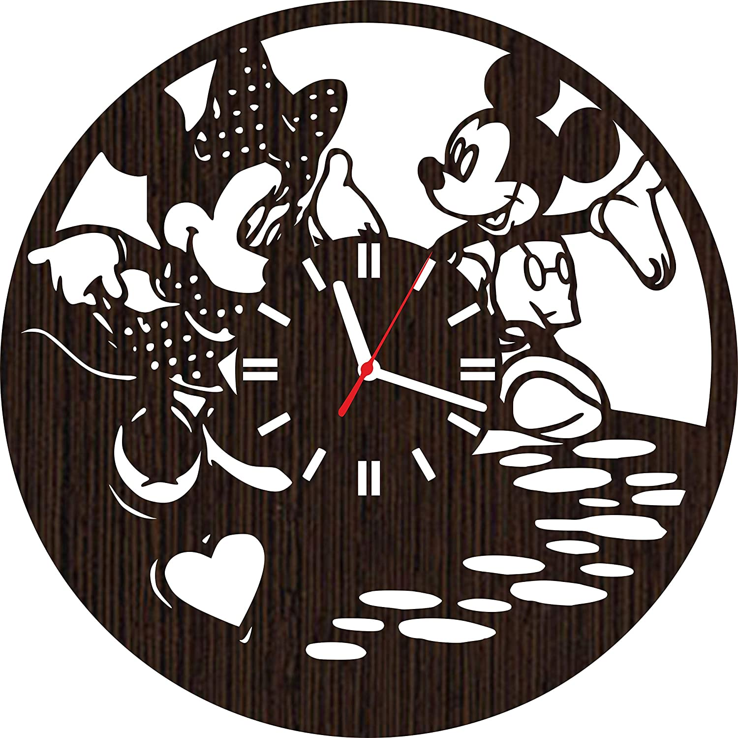 Handmade Wooden Wall Clock Mickey and Minnie Mouse Gifts for Kids Boys Girls Disney Fans | Nursery Home Decor | Birthday Party Decorations | Baby Room | Valentines Day Lovelygift4you