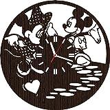 Handmade Wooden Wall Clock Mickey and Minnie