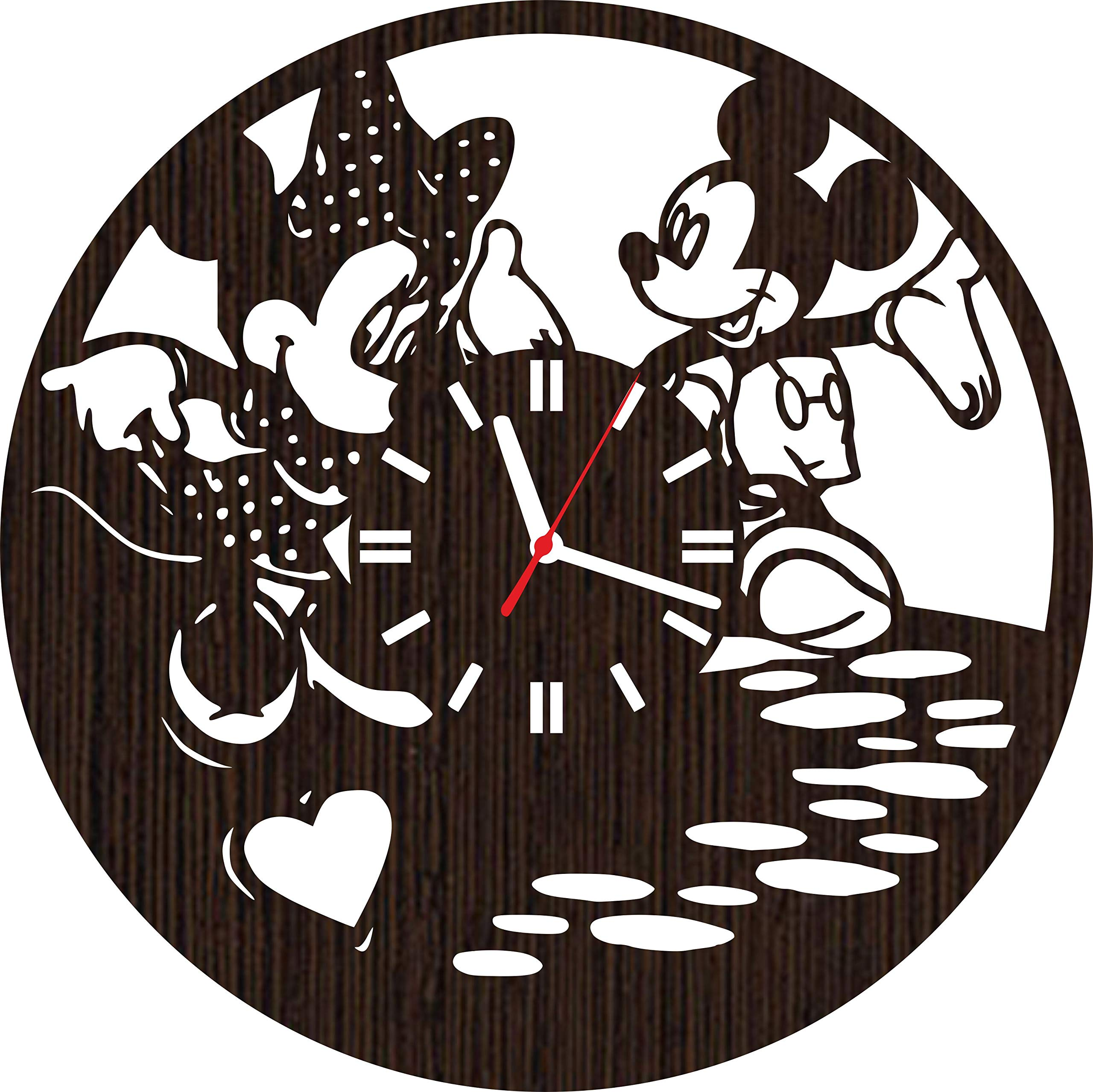 Handmade Wooden Wall Clock Mickey and Minnie Mouse Gifts for Kids Boys Girls Disney Fans | Nursery Decor | Birthday Party Decorations | Baby Room
