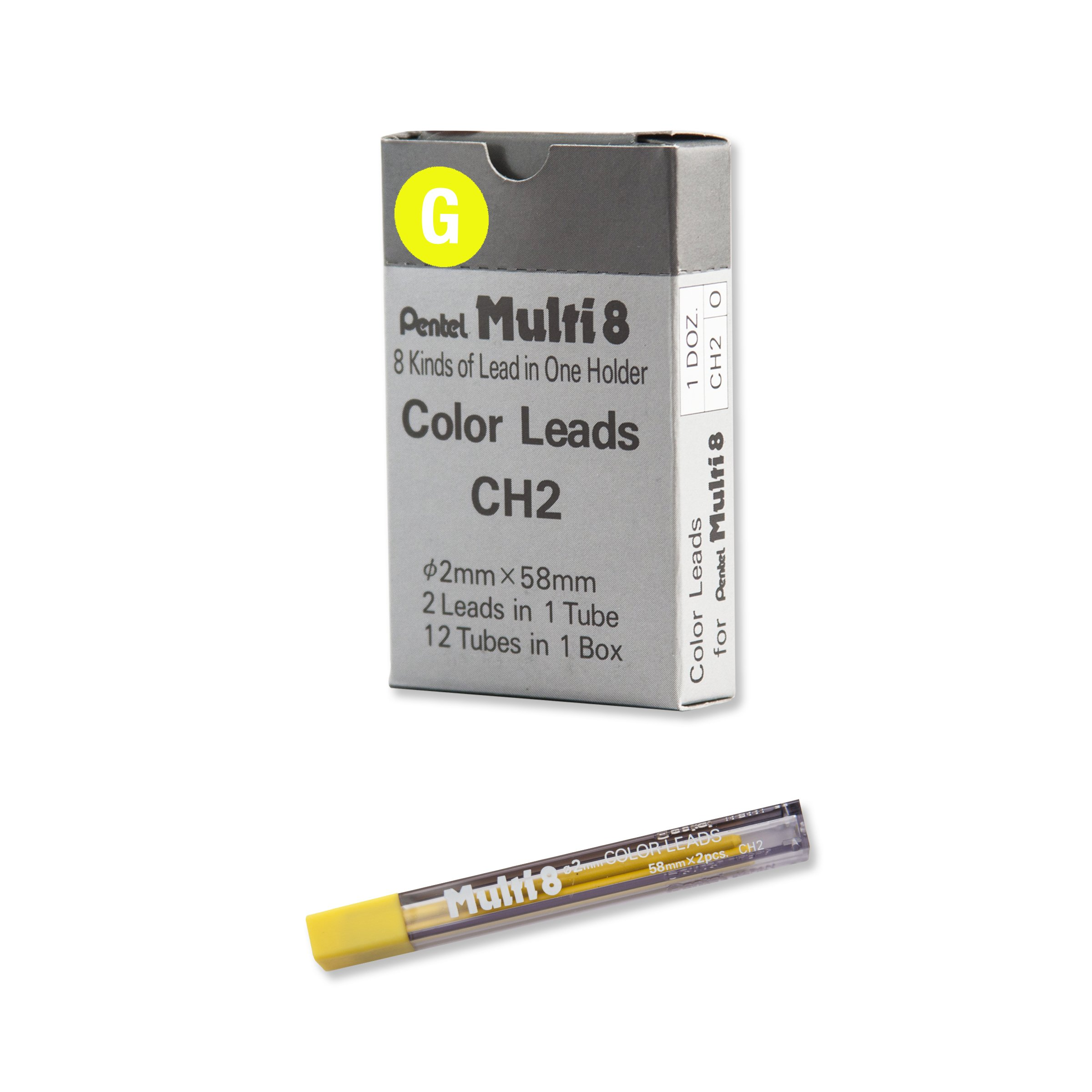 Pentel Arts 8 Colour Pencil Lead Refill, Yellow, 24 Pieces of Lead (CH2-G) by Pentel