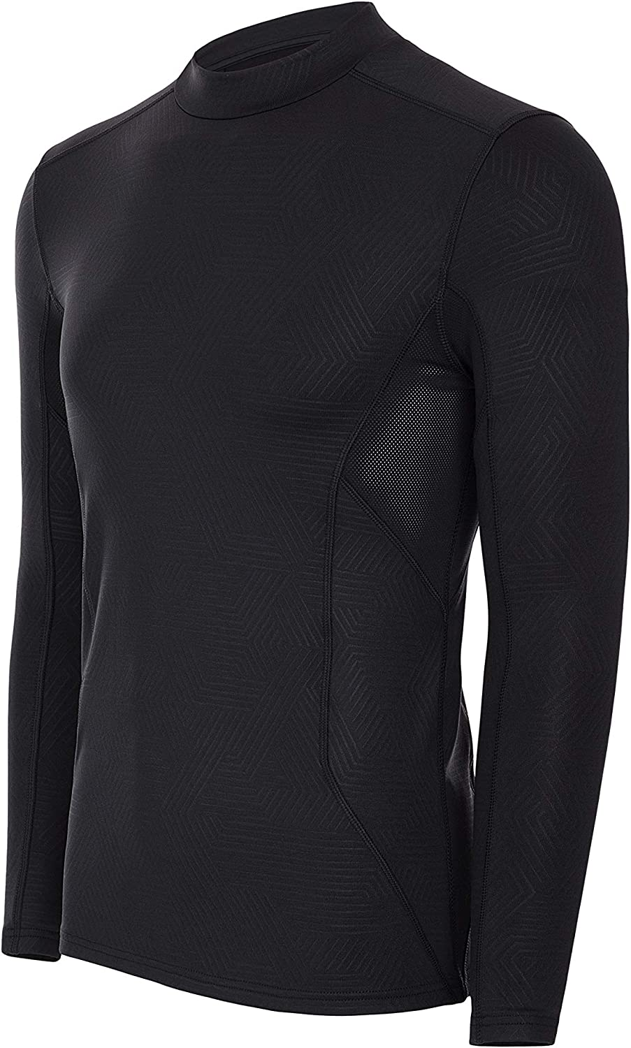 Mens Mock Neck Warm Long Sleeve Compression Top with Mesh Panel