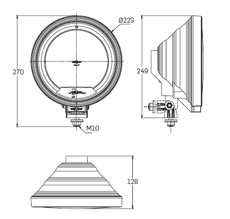 4x 12//24 V 22,5 cm LKW Fernscheinwerfer Zusatz Wei/ß Rund Neu Hochwertig Klar