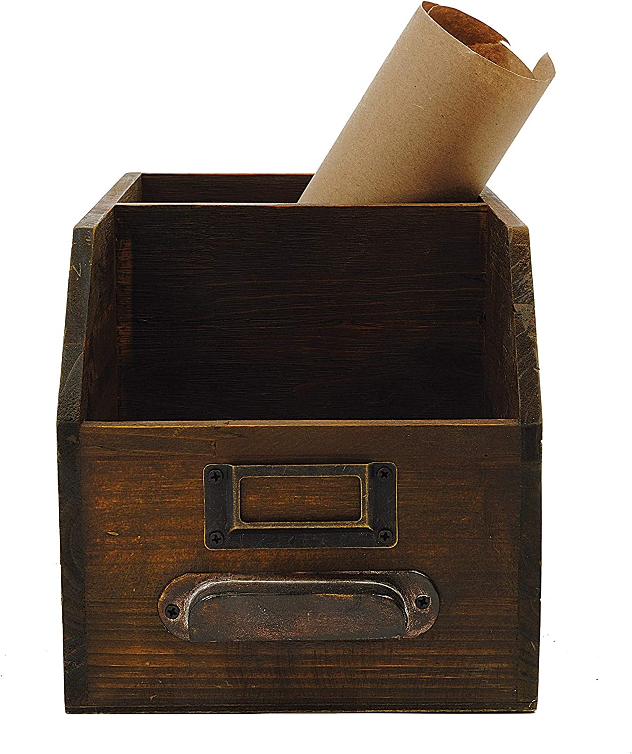 Creative Co-op 2-Section Wood Bin with Handle & Label Holder