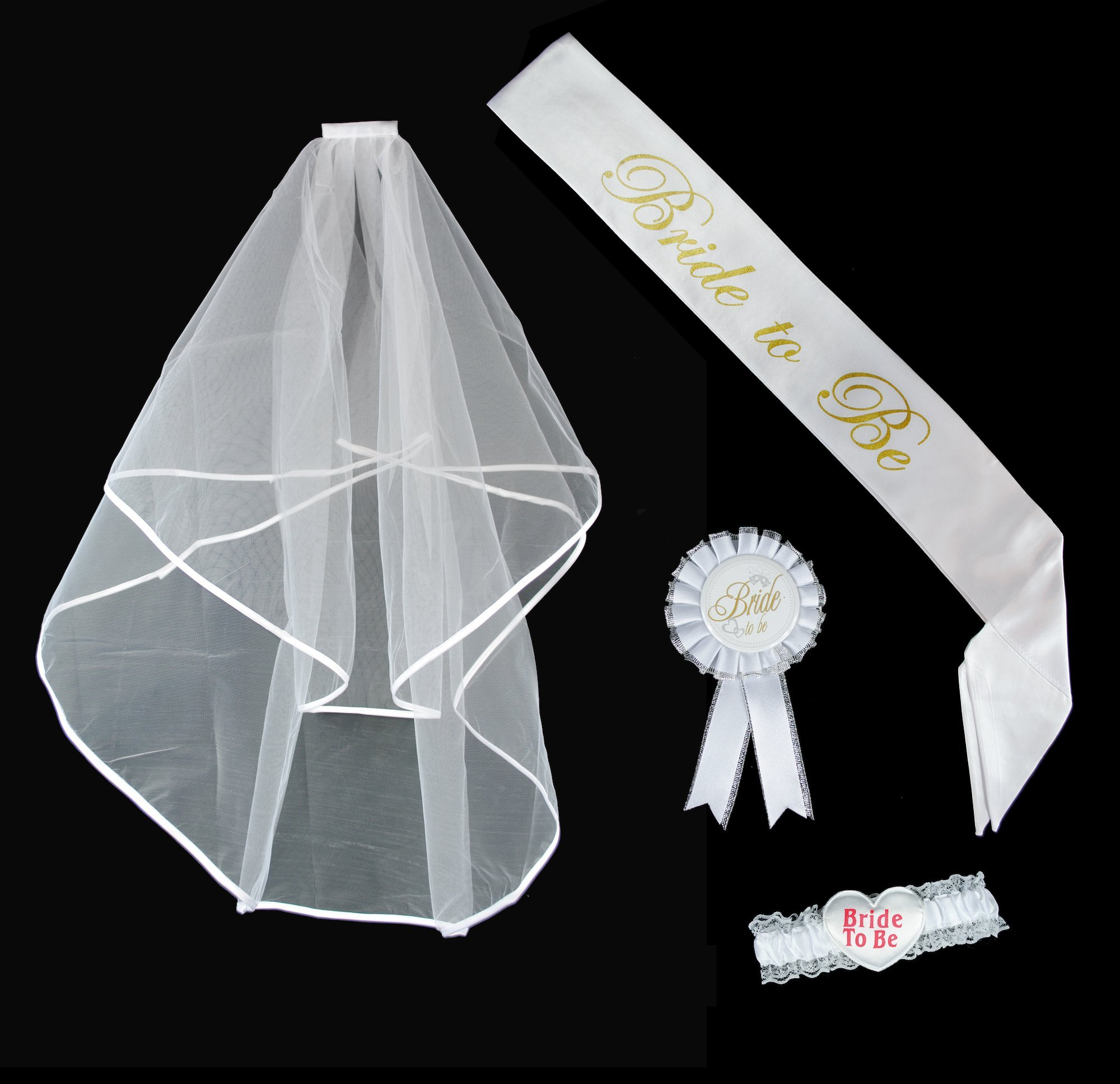 Jazzoo Bachelorette Party Accessory Kit Including Bride To Be Sash and Veil, Rosette Badge & Bride To Be Garter