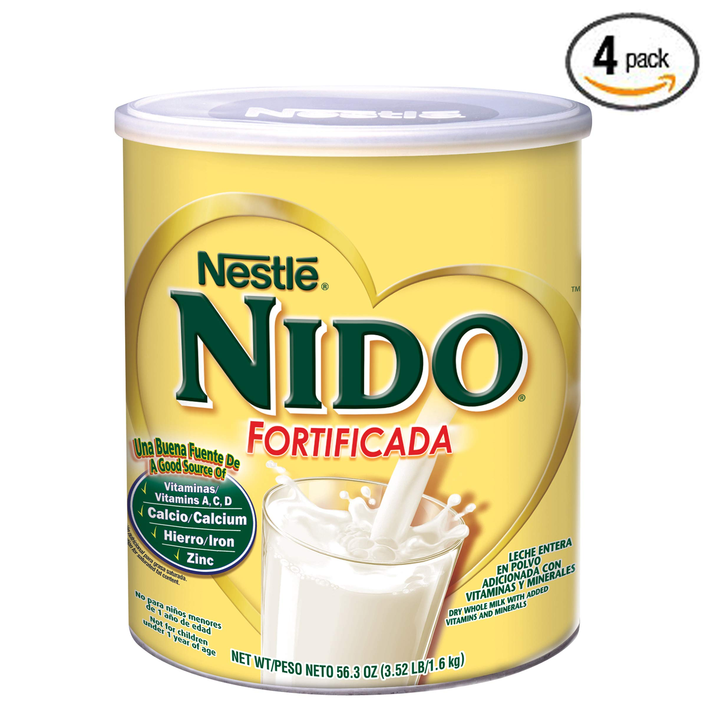 NIDO Fortificada Dry Milk 56.3 oz. Canister, Pack of 4 by Nido (Image #1)