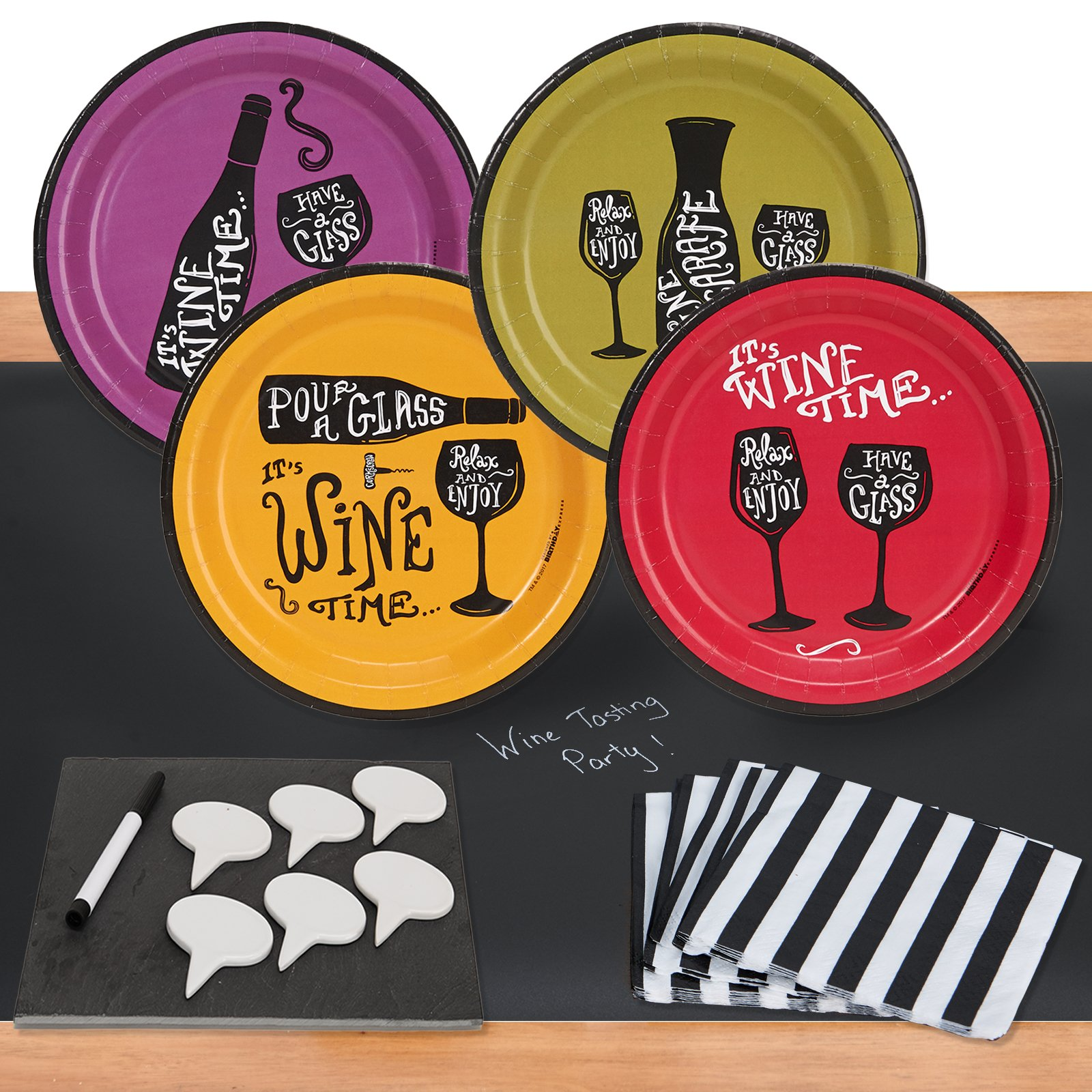 Wine Time 32 pc Appetizer Pack w/ Chalkboard Runner & Cheese Board by BirthdayExpress