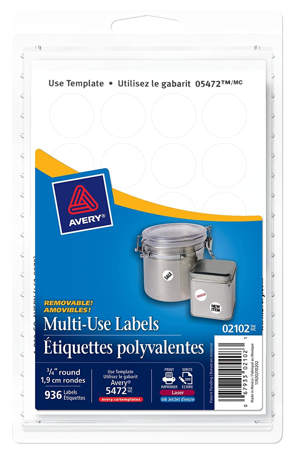 Avery multi use removable labels 34 white round 936 labels avery multi use removable labels 34 white round 936 labels removable 2102 amazon office products pronofoot35fo Images