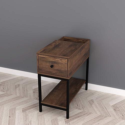RAAMZO Nutmeg Brown Finish Black Frame Chair Side End Table