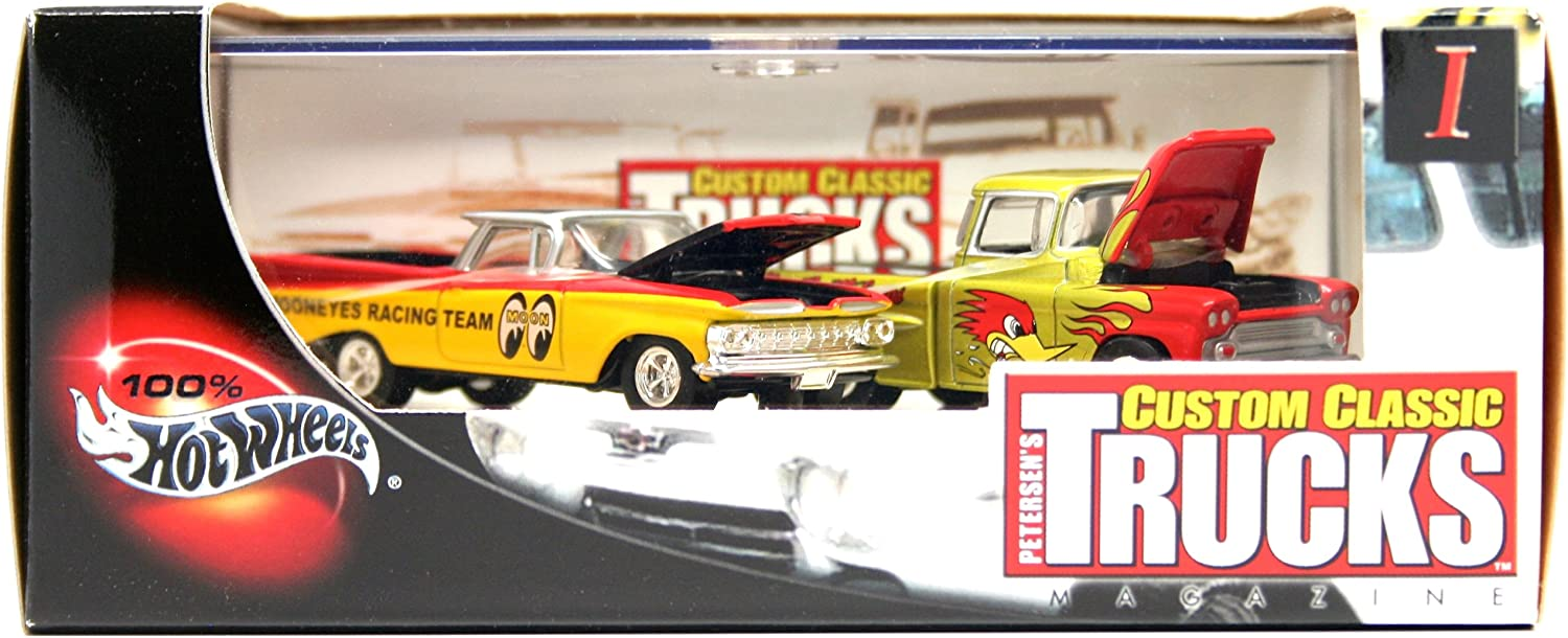 '59 EL CAMINO & '69 CHEVY APACHE Limited Edition Hot Wheels 2002 PETERSEN'S CUSTOM CLASSIC TRUCKS MAGAZINE 1:64 Scale 2-Car Custom Vehicle Box Set 81oolp-w93LSL1500_