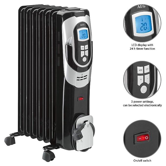 AEG RA 5587 - Radiador de aceite, 1500 W, 7 elementos, programable, pantalla digital, 3 niveles de potencia, regulador de potencia para un bajo ...