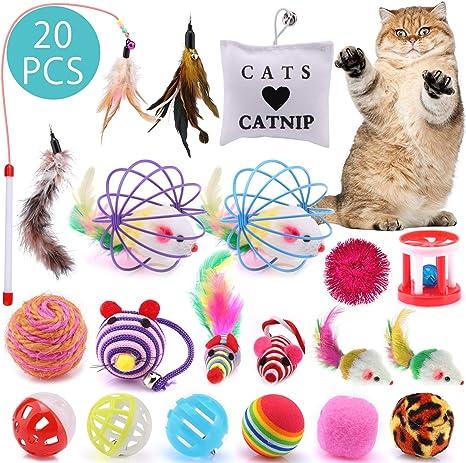 ASANMU Juguete Interactivo para Gatos, 20 Piezas Juguetes para ...