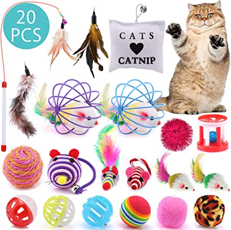 ASANMU Juguete Interactivo para Gatos, 20 Piezas Juguetes para Gatos Ratón y Bolas Varias con Campanas y Plumas, Cabezas de Repuesto Catnip Ball Juguete Gatos Raton Mascota Gato Juguetes Gatito: Amazon.es: Hogar