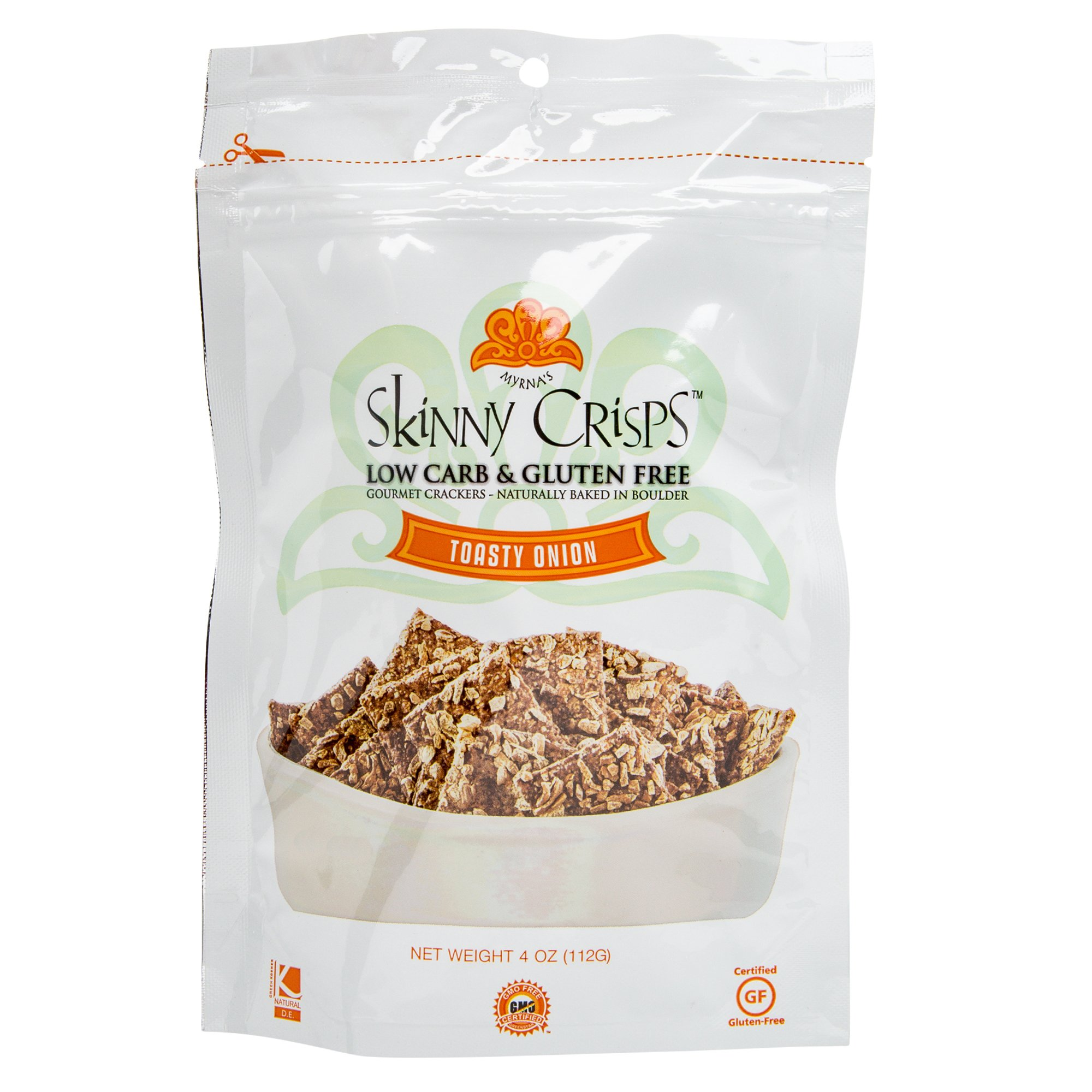 Skinny Crisps Toasty Onion Low Carb Gluten Free Gourmet Crackers 4 Oz Bag Toasty Onion, 1 Bag