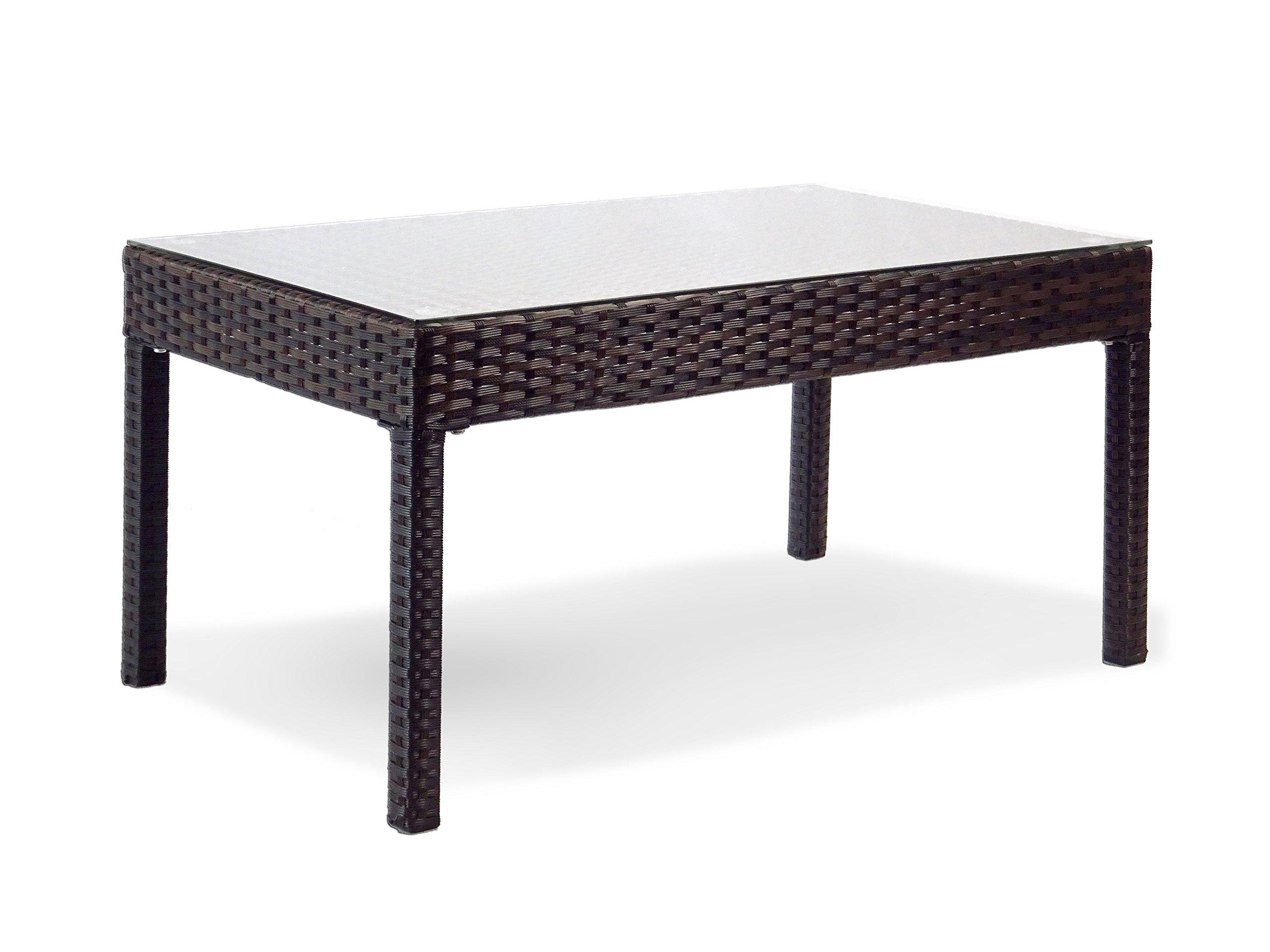 Resin Outdoor Rectangular Coffee Table w/ Glass Garden Yard Patio Wicker, Black