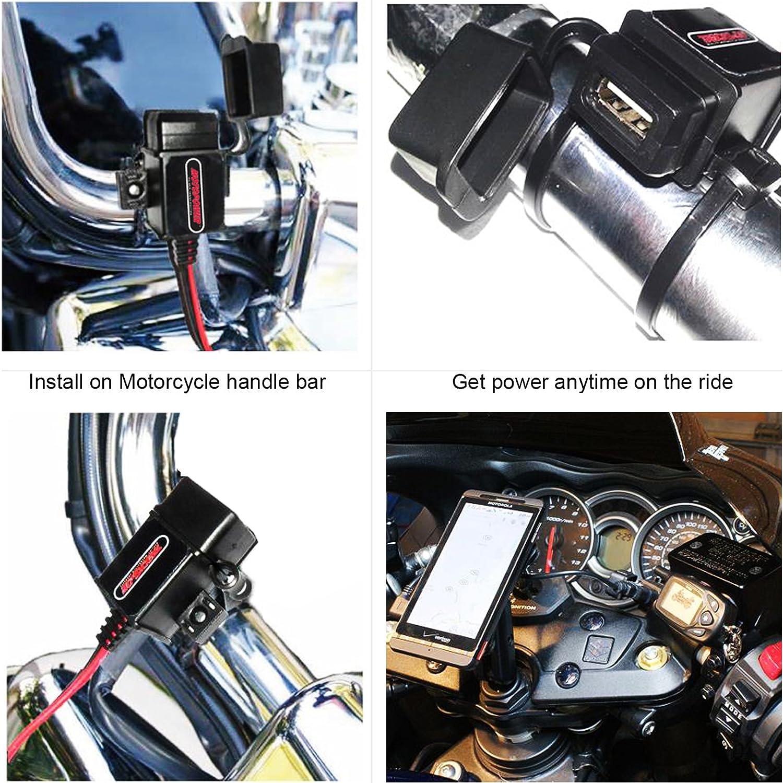 GPS o c/ámara Deportiva Cargador USB para Motocicleta MOTOPOWER MP0609-UK 3.1 A para tel/éfono