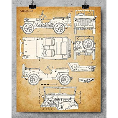 Original Jeep Patent Art Prints Unframed Makes a Great Gift Under $20 for Jeep Drivers 8x10 Set of Four Photos