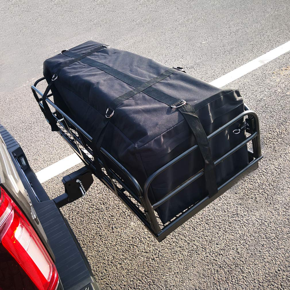Hitch Mount Cargo Carrier 60 x 24.4 x 13.8 Folding Cargo Rack Rear Hitch Tray Luggage Basket with 500 LB Capacity Fits 2 Receiver for Car SUV Pickup