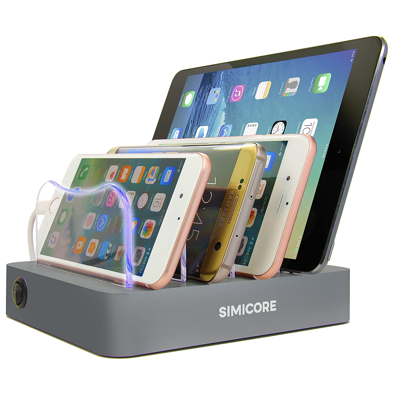 4-Port Compact Multiple USB Charger /& Phone Docking Station with Charging Status Indicator Silver Simicore Smart Charging Station Dock /& Organizer for Smartphones Tablets /& Other Gadgets