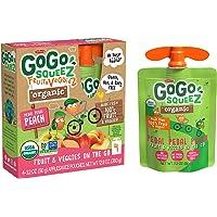 GoGo squeeZ Organic fruit & veggieZ, Apple Peach Sweet Potato, 3.2 Ounce (4 Pouches), Gluten Free, Vegan Friendly, Unsweetened, Recloseable, BPA Free Pouches