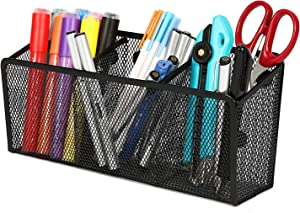 Magicfly Magnetic Pencil Holder with 3 Generous Compartments Mesh Storage Basket Organizer, Extra Strong Magnets Pen Holder, for Your Whiteboard, Fridge, Cubicle Desks, Locker Accessories