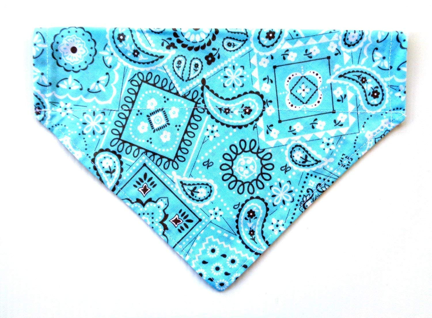 Classic Print Teal/Blue Bandana for Dogs, Reversible Over the Collar Slip Thru Thread Through Style Petwear
