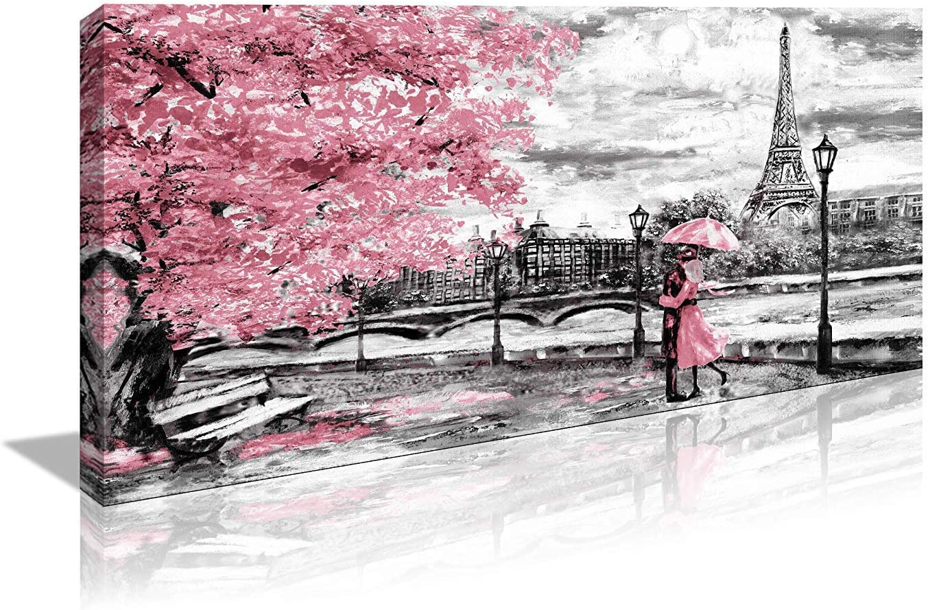 Canvas Wall Art decor Black White and Red Umbrella Couple in Street Eiffel Tower 20