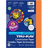 "Tru-Ray PAC103404BN Construction Paper, Electric Orange, 9"" x 12"", 50 Sheets Per Pack, 6 Packs"
