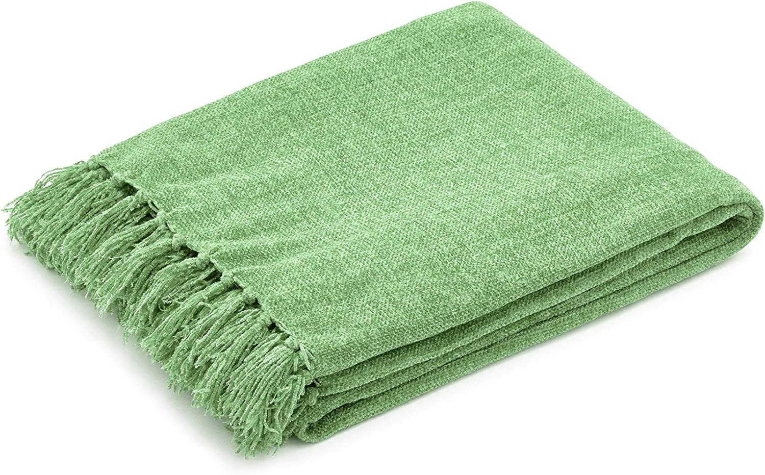 """Americanflat Chenille Throw Blanket in Sage Green - Breathable Polyester with Decorative Fringe - Wrinkle and Fade Resistant - 50"""" x 60"""" (CHEN5060SAGE)"""