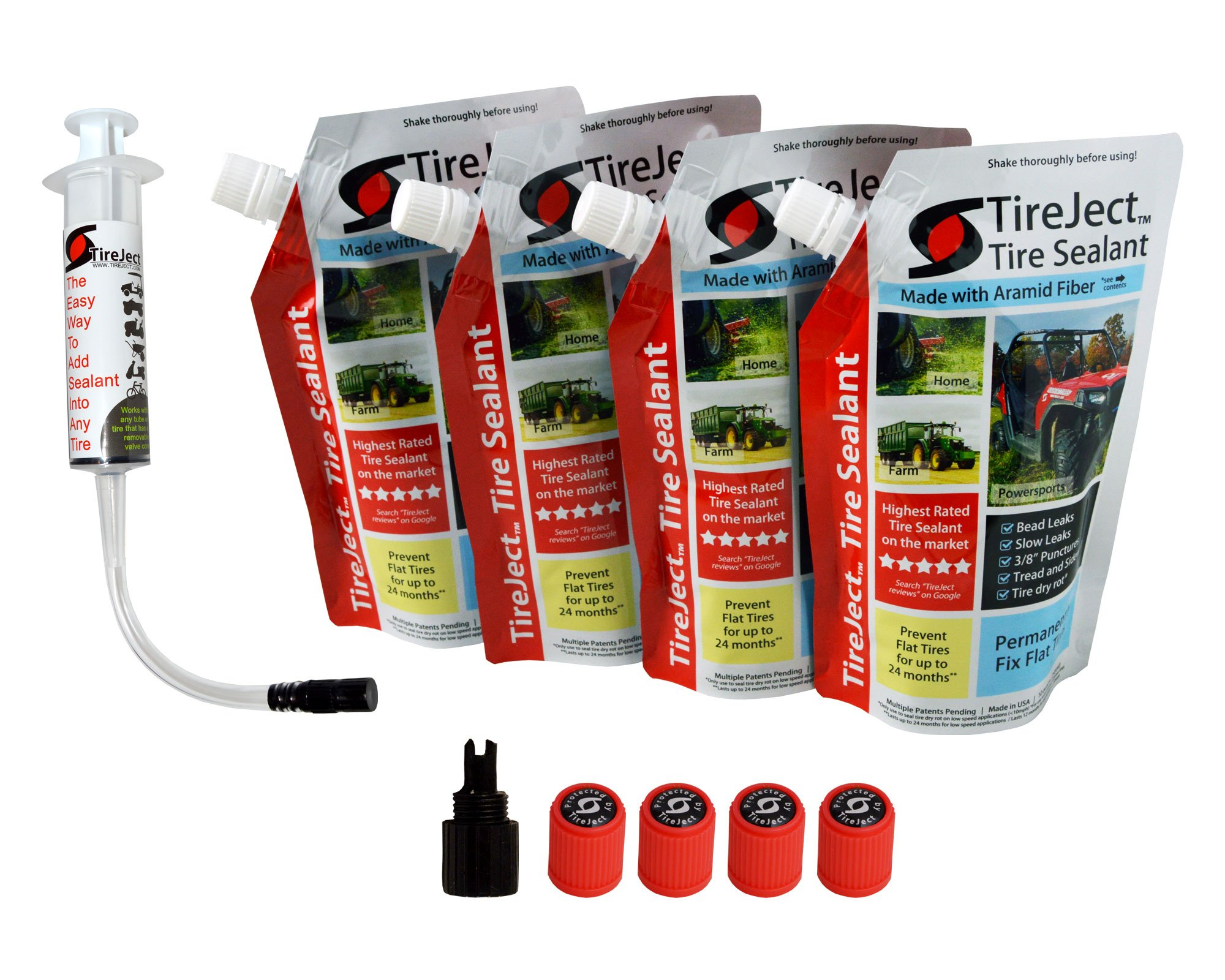 TireJect Tire Sealant - 40oz Tire Repair Kit (Protect 4 ATV Tires - Tubeless Puncture Repair Kit Fix Flat Tyres)