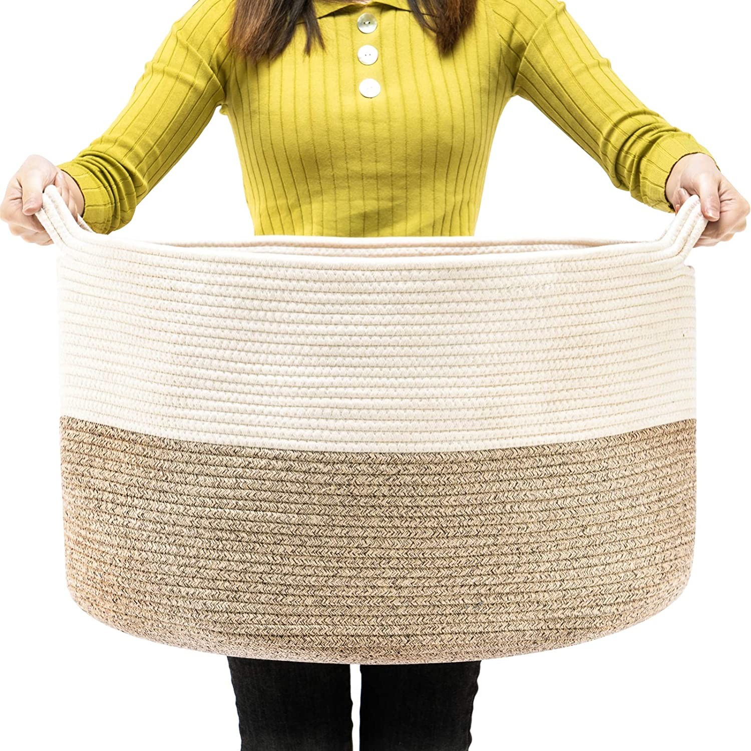 TECHMILLY Laundry Basket XXL Extra Large 88L Cotton Rope,Woven Baby Basket Clothes Hamper with Handles -Brown