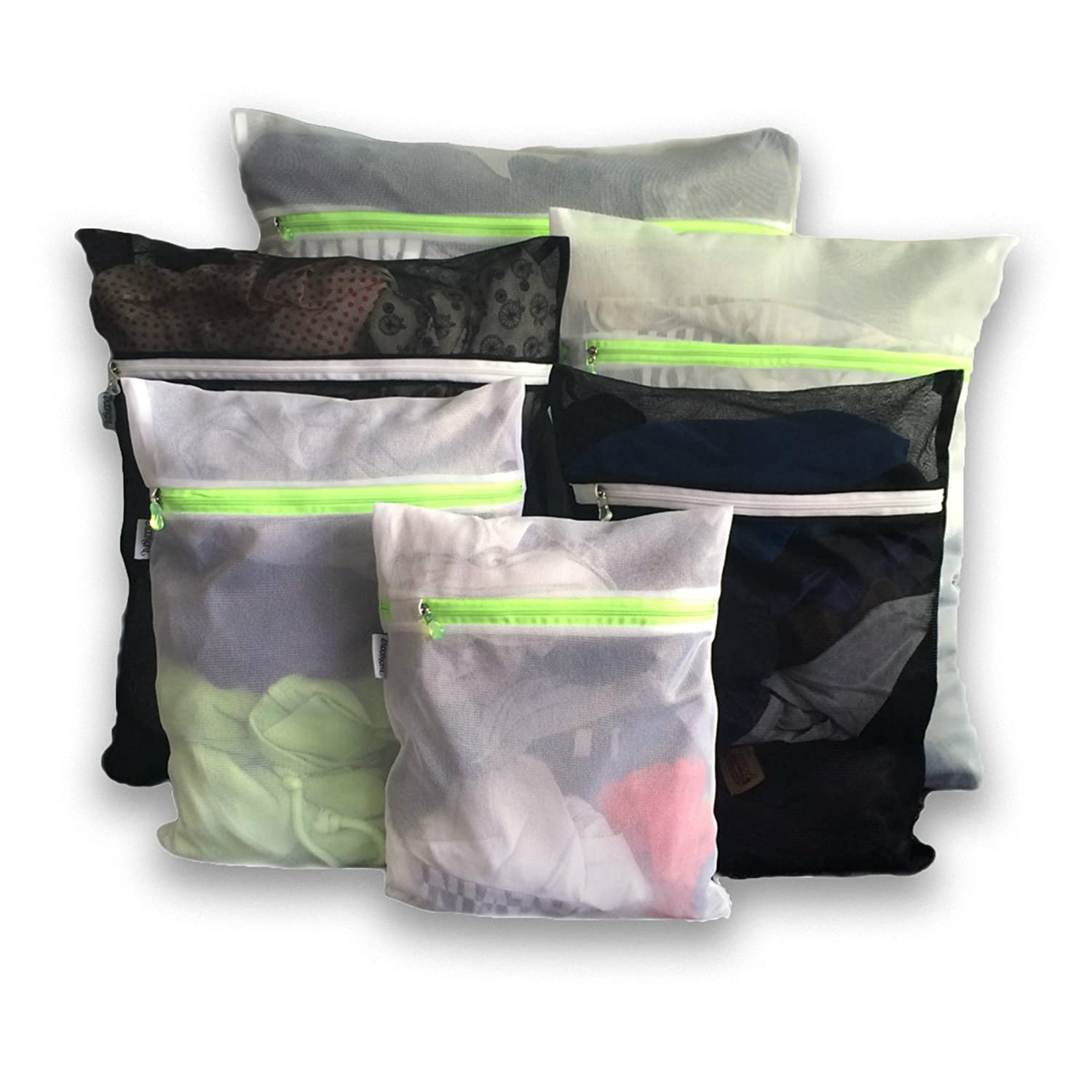 6 Mesh Laundry Wash Bags-1 XL, 2 Large, 2 Medium & 1 Small for Delicates, Bra, Underwear, Lingerie, Socks, Blouse, Hosiery, Stockings - Travel Laundry Bag Black & White AX-AY-ABHI-93858