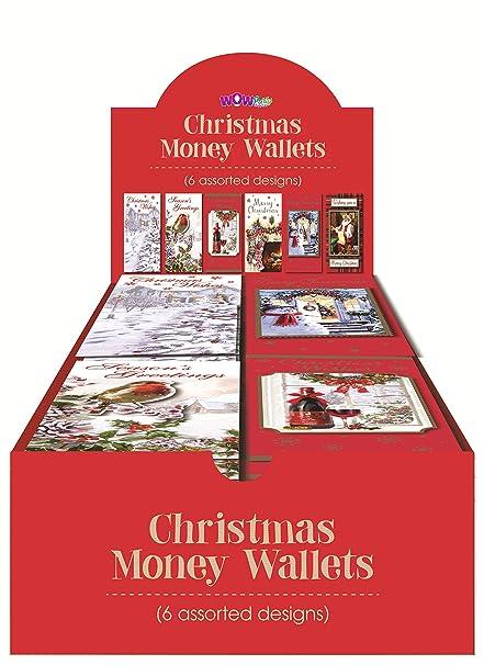 WOW tradicional Navidad dinero cartera regalo tarjetas y sobres – paquete de 6 – varios diseños