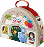 HABA At the Zoo Large Portable Take Along Play Set with 19 Wooden Pieces (Made in Germany)