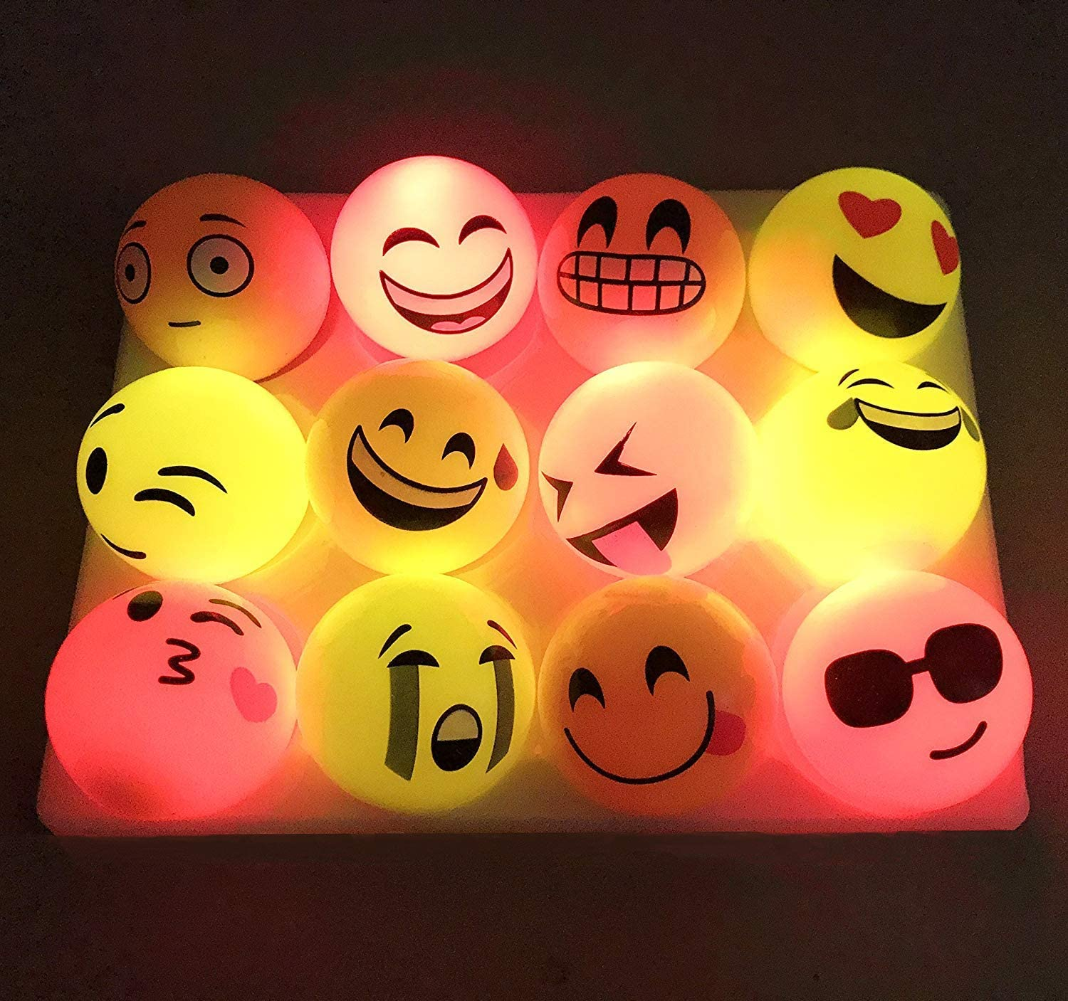 Set of 12 The Electric Mammoth Light Up Flashing Bouncing Balls Yellow Faces