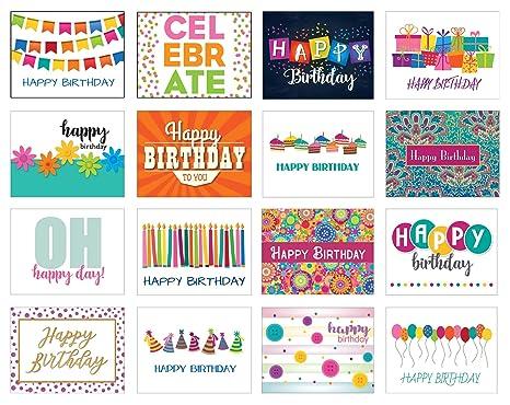 Amazon.com: Paquete de 32 tarjetas de cumpleaños surtidas ...