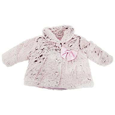 d54321824 Baby Girls Fluffy Winter Coat With Bow Applique (9-12 Months) (Pink ...
