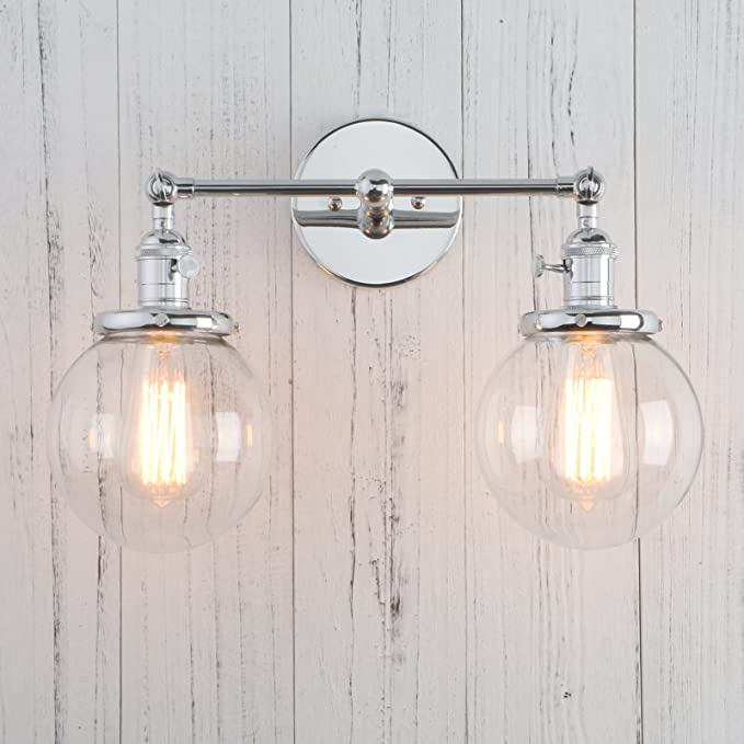 Permo Double Sconce Vintage Industrial Antique 2-lights Wall Sconces with Dual Mini 5.9  Round Clear Glass Globe Shade (Chrome) - - Amazon.com & Permo Double Sconce Vintage Industrial Antique 2-lights Wall Sconces ...