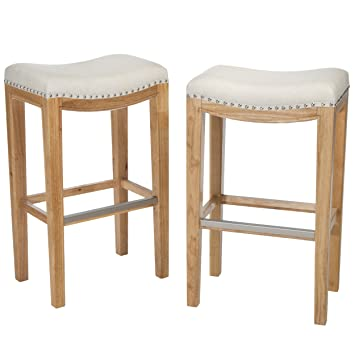 Amazon Com Best Selling Andres Backless Bar Stools Off White Set
