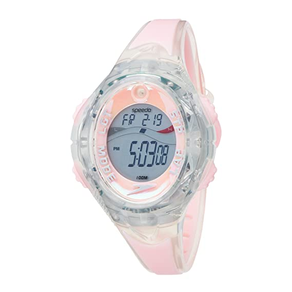 Speedo uv sensor - Reloj digital de mujer de cuarzo con correa de goma rosa (