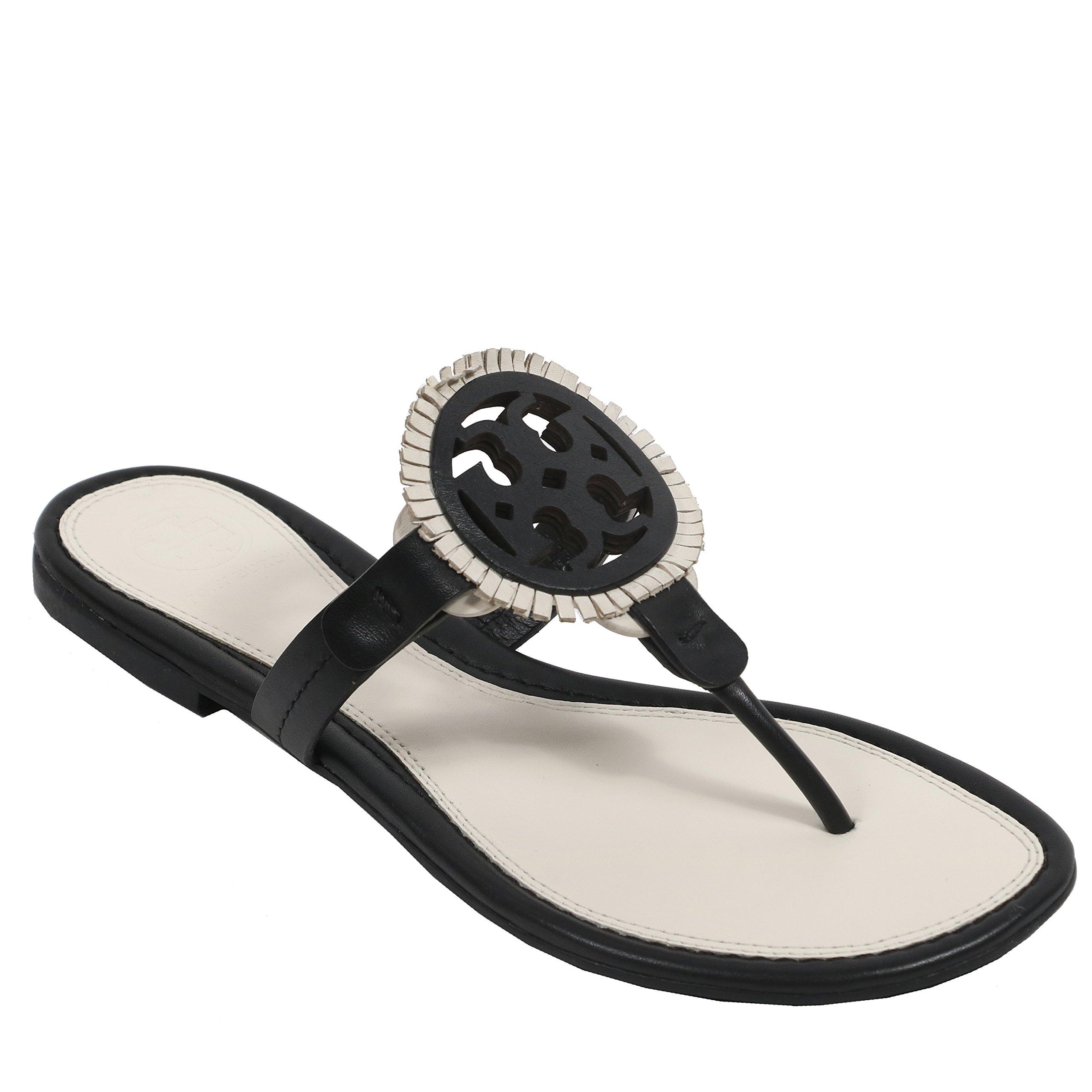 Tory Burch Women's Miller Fringe Sandal Leather (7.5, Black Bleach Black)