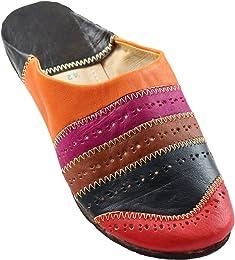 Orientalische Schuhe Babouche Hausschuhe Pantoffel Slipper aus Marokko - Damen Hausschuhe aus Leder-Brokat , Handarbeit aus Fes