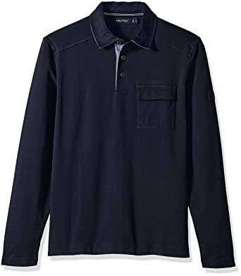 Nautica Mens Long Sleeve Heavy Weight Jersey Polo Shirt with ...